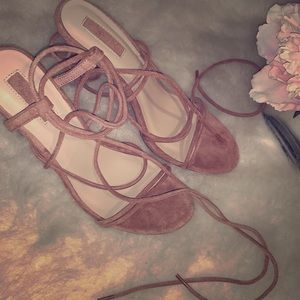 Forever 21 Blush Pink lace up heels never worn!